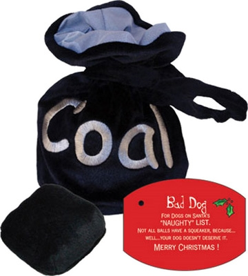 Bag of Coal Christmas Dog Toy